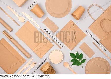 Set Of Eco-friendly Tableware And Kraft Paper Food Packaging On Light Gray Background. Street Food P