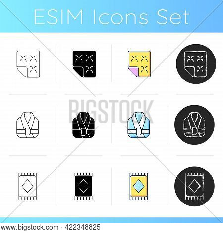 Textile Products For Home Icons Set. Duvet And Bed Mattress. Bath Robes. Carpet, Floor Mat. Interior