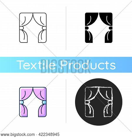 Curtains Icon. Window Blinds. Open Drapes For Theater Stage. Textile Products, Hanging Household Clo