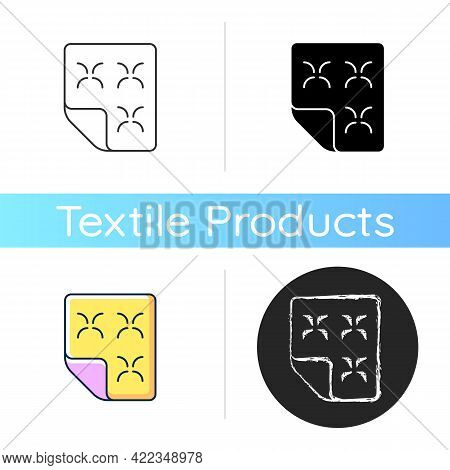 Duvet Icon. Linen Bedding. Mattress Cover, Dust Protector. Orthopedic Bedspread. Textile Products, H