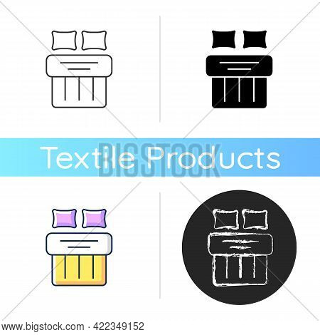 Double Bed Set Icon. Hotel Room For Night Rest. King Size Linen Bedding. Textile Products, Household