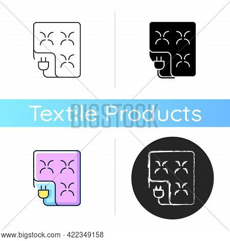 Electric Blanket Icon. Comfortable Bedding. Warm Sheets With Control. Textile Products, Household Cl