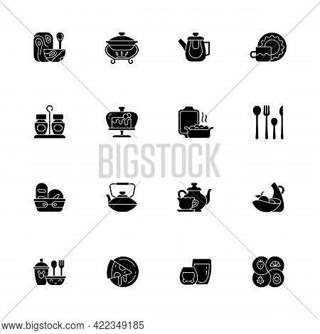 Trendy Tableware Black Glyph Icons Set On White Space. Irregular Shape Tableware. Vintage Style Dinn