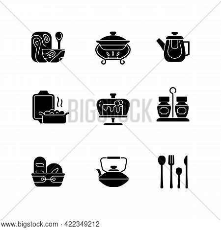 Trendy Tableware Black Glyph Icons Set On White Space. Specially Designed Kitchenware. Forks, Knives