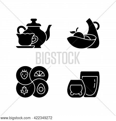 Trendy Kitchenware Black Glyph Icons Set On White Space. Sectional Plate And Divided Dish. Double Gl
