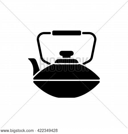 Chinese Iron Teapot Black Glyph Icon. National Types Of Dinnerware. Old Fashioned Kitchen Equipment.