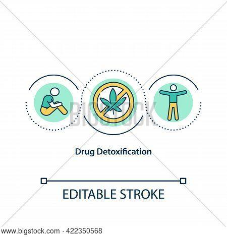 Drug Detoxification Concept Icon. People Stop Drug Consumption. Narcotics Addiction Treatment Abstra