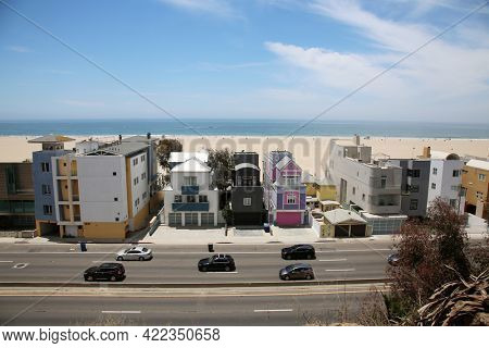 May 24, 2021 Santa Monica California; A view of Beach Front Homes in Santa Monica California. Homes to the Rich and Famous sit on the beach of Santa Monica  with the Pacific Ocean. Editorial.
