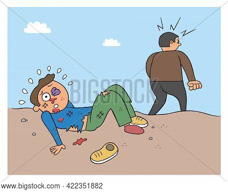 Cartoon Man Beaten And Angry Man Leaves, Vector Illustration. Black Outlined And Colored.