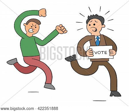 Cartoon Angry Man Chasing Politicians Who Want Votes, Vector Illustration. Black Outlined And Colore