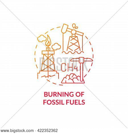 Fossil Fuels Burning Concept Icon. Human Co2 Cause Abstract Idea Thin Line Illustration. Global Temp