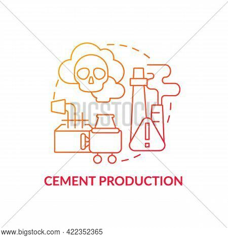 Cement Production Concept Icon. Human Carbon Emission Abstract Idea Thin Line Illustration. Co2 Emis
