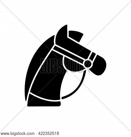 Horseback Riding Black Glyph Icon. Equestrian Sport. Stretching Muscles. Caring For Horses, Dressage