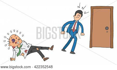 Cartoon Angry Employee Man Beat The Boss And Leaves, Vector Illustration. Black Outlined And Colored