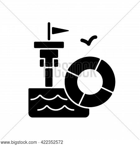 Lifeguarding Training Black Glyph Icon. First Aid. Water Emergencies Prevention And Responding. Prep