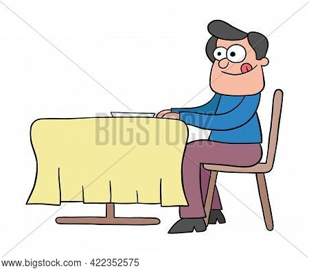 Cartoon Man Hungry At The Restaurant And Waiting For Dinner, Vector Illustration. Black Outlined And