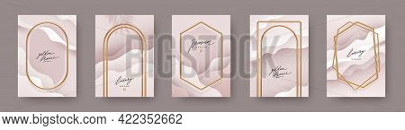 Set Of Abstract Modern Poster. Realistic Golden Frames And Arches On Fluid Layered Background. Elega