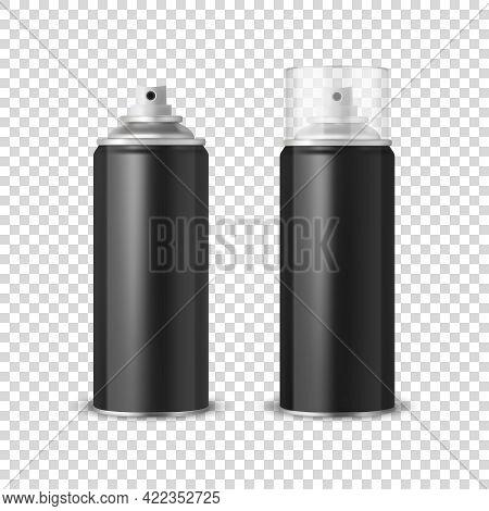 Vector 3d Realistic Black Aluminum Blank Spray Can, Bottle, Transparent Lid Set Isolated. Design Tem