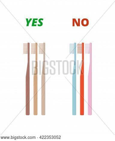 Bamboo Toothbrush Vs Plastic Toothbrushes. Zero Waste And Eco-living Concept
