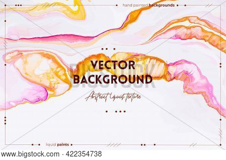 Fluid Art Texture. Backdrop With Abstract Swirling Paint Effect. Liquid Acrylic Picture That Flows A