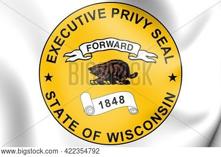 3d Executive Privy Seal Of Wisconsin, Usa. 3d Illustration.