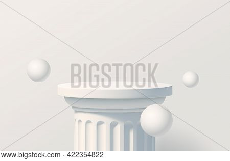 White Podium Like A Classic Column For Product Presentation. Podium Stage With With White Spheres. M