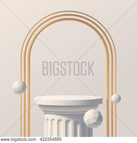 White Podium Like A Classic Column For Product Presentation. Podium Stage With Golden Arches And Whi
