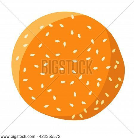 American Burger Bun Isolated On White Background.top View Of Bakery Product. Round Bread With Sesame