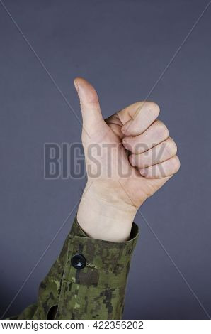 Hand In Camouflage Shows Gesture With His Fingers On Gray Background. The Palm Is Clenched Into A Fi