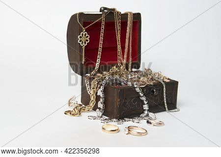 Treasure Chest Isolated On White Background With Copy Space
