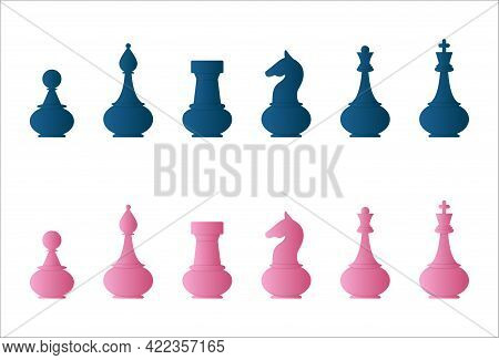 Vector Set Of Blue And Pink Chess Pieces: King, Queen, Bishop, Knight, Rook, Pawn.