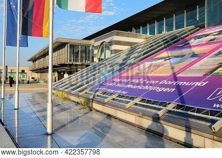 Dortmund, Germany - September 16, 2020: Exterior View Of Dortmund Airport Terminal In Germany. Dortm