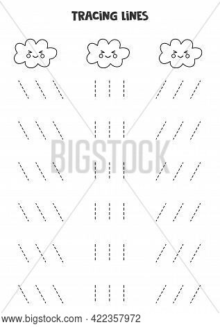 Tracing Lines For Kids With Cute Black And White Kawaii Clouds. Handwriting Practice For Children.