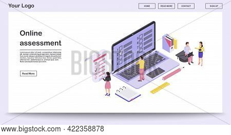 Online Assessment Webpage Vector Template With Isometric Illustration. Students Completing Online An
