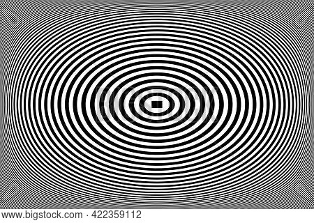 Abstract Geometric Op Art Design. Oval Lines Pattern. 3d Illusion. Vector Illustration.