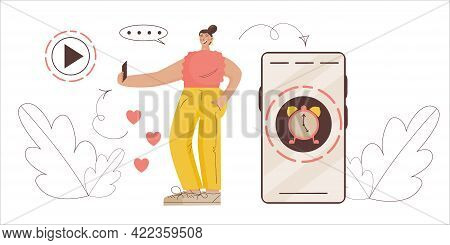 Ephemeral Content Concept. Girl Blogger Records Temporary Content With Limited Time. Vector Illustra