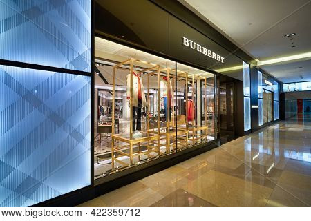 SINGAPORE - CIRCA JANUARY, 2020: Burberry storefront in ION Orchard shopping mall in Singapore. Burberry is a British luxury fashion house.