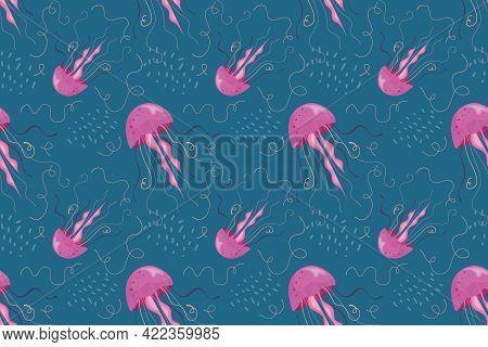 Seamless Pattern Jellyfish, Sea Dweller Swimming In Sea. Pink Jellyfish Dark Background, Childrens S