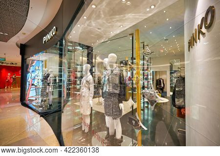 SINGAPORE - CIRCA JANUARY, 2020: Pinko storefront in ION Orchard shopping mall in Singapore.
