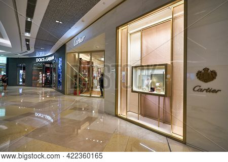 SINGAPORE - CIRCA JANUARY, 2020: Cartier storefront in ION Orchard shopping mall in Singapore.