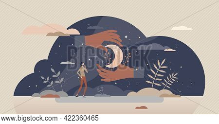 Astrology Science And Future Prediction From Sky Stars Tiny Person Concept. Pseudoscience And Prophe