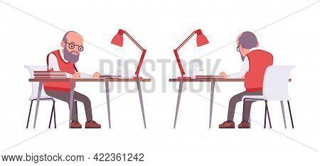 Old Teacher, Male Senior Professor, University, Tutor Working At Desk. Experienced Elderly Master, A