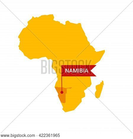 Namibia On An Africa S Map With Word Namibia On A Flag-shaped Marker.