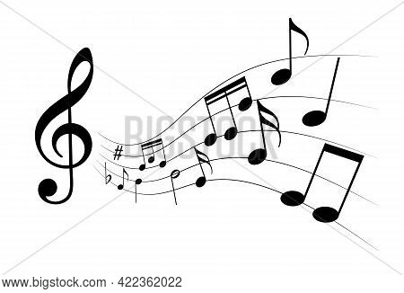 Icon Music Notes. Music Graphic Sign Isolated On White Background. Symbol Melody. Vector Illustratio