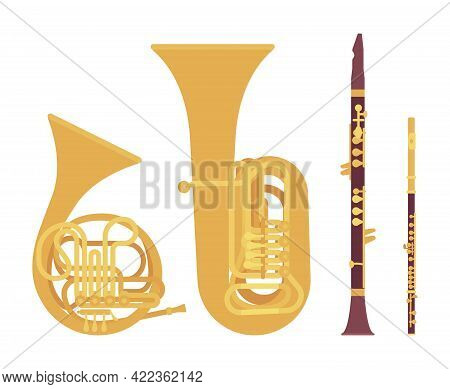 Wind Musical Instrument, Brass And Woodwind Set. French Horn, Tuba, Clarinet, Flute For Band, Orches