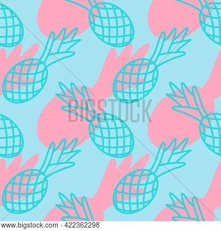 Tropical Pineapple Seamless Pattern, Summer Background Pineapple Pink Blue Outline, Trendy Color, De