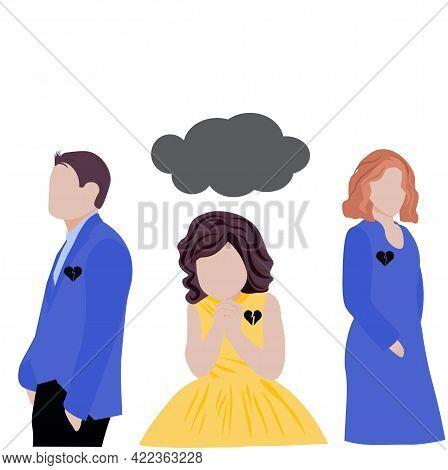 Divorce Vector Stock Illustration. Divorce, Parents ' Quarrel With The Child. Custody Of The Child.