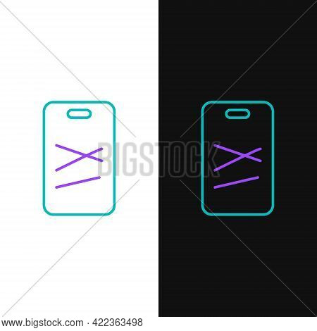 Line Cutting Board Icon Isolated On White And Black Background. Chopping Board Symbol. Colorful Outl