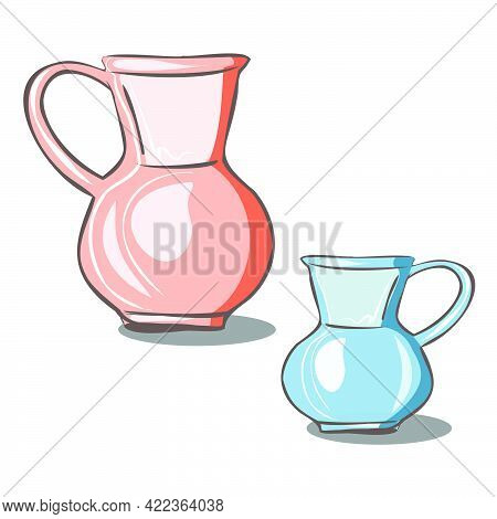 Ceramic Earthenware Jugs In Pink And Blue. Kitchenware. A Vessel For Water, Milk, Drinks. Vector Iso