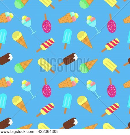 Ice Cream Seamless Pattern. Popsicle, Ball Of Ice Cream In A Vase, Chocolate Icing Waffle Cup, Sweet